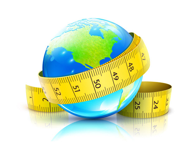 illustration of earth with a measuring tape around it